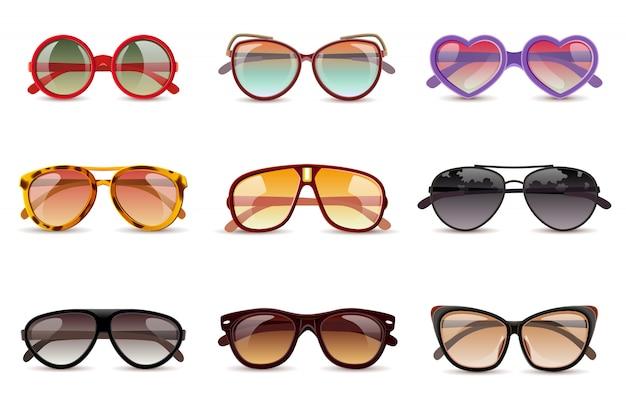 Conjunto de iconos realistas de gafas de sol de protección de sol de verano