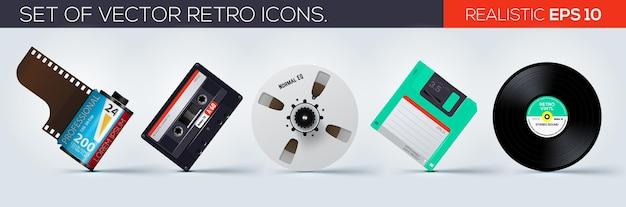 Conjunto de iconos realistas de iconos retro