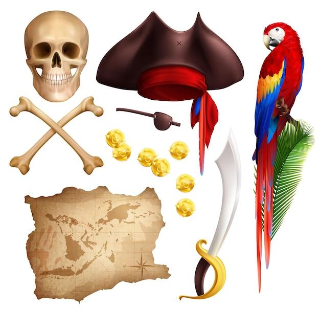 Conjunto de iconos realistas pirata de mapa envejecido monedas de oro pipa de fumar sable cráneo loro y sombrero de pirata aislado