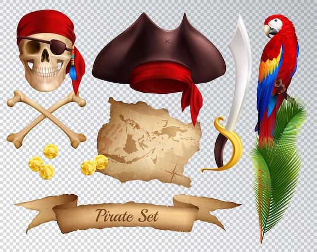 Conjunto de iconos realistas pirata de sable pirata hat pañuelo rojo atado a loro cráneo en rama de palma aislado en transparente
