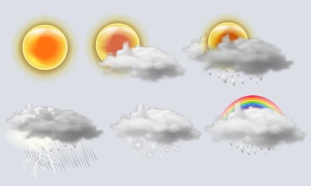 Conjunto de iconos realistas del tiempo. sol, nube, arco iris, tormenta, lluvia