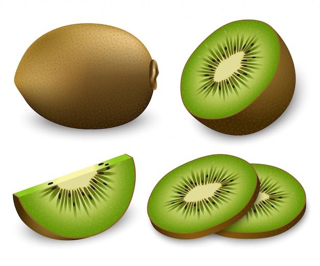 Conjunto de iconos de rebanada de comida de fruta de kiwi