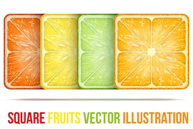 Conjunto de iconos rebanadas de frutas cuadradas.