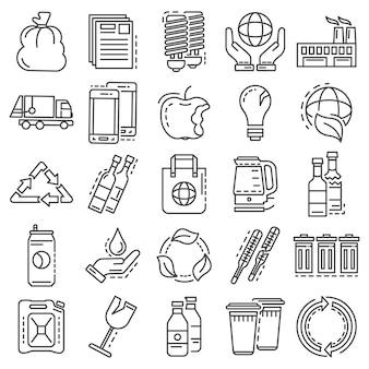Conjunto de iconos de reciclaje. esquema conjunto de iconos de vectores de reciclaje