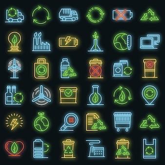 Conjunto de iconos de reciclaje. esquema conjunto de reciclaje de iconos vectoriales de color neón en negro