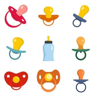 Conjunto de iconos recién nacidos chupete cuidado de bebé