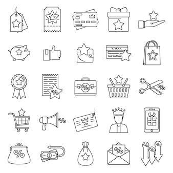 Conjunto de iconos de recompensa del programa de fidelización, estilo de contorno