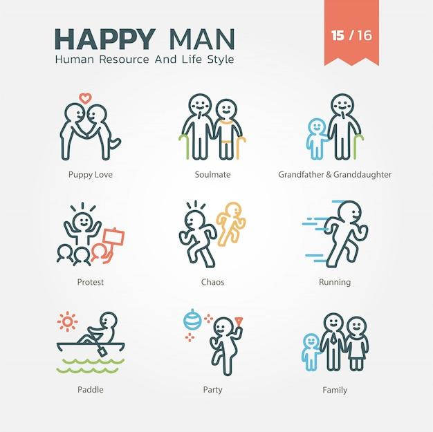 Conjunto de iconos de recursos humanos y estilo de vida