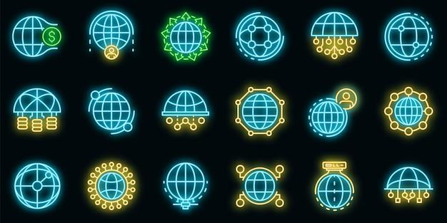 Conjunto de iconos de red global. esquema conjunto de iconos de vector de red global color neón en negro