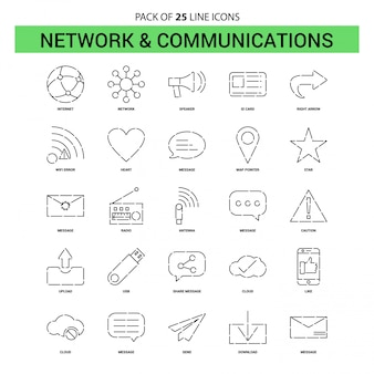 Conjunto de iconos de red y línea de comunicación - 25 estilo de contorno discontinuo
