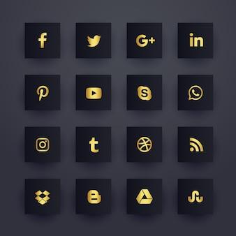 Conjunto de iconos de redes de medios sociales oscuros premium