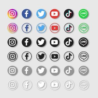 Conjunto de iconos de redes sociales aislado en gris