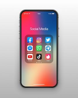 Conjunto de iconos de redes sociales de carpeta de teléfono inteligente