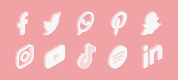 Conjunto de iconos de redes sociales con degradado en rosa