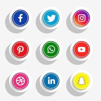 Conjunto de iconos de redes sociales de estilo 3d