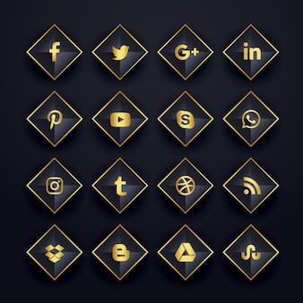 Conjunto de iconos de redes sociales en forma de diamante