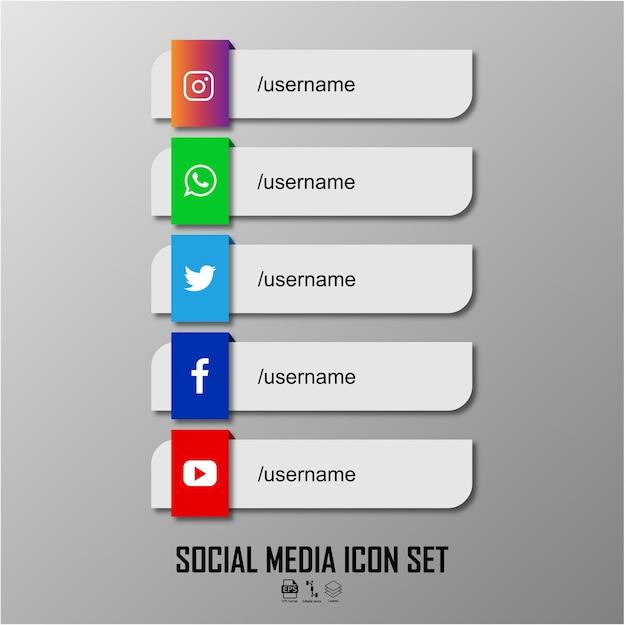 Conjunto de iconos de redes sociales formato listo eps 10