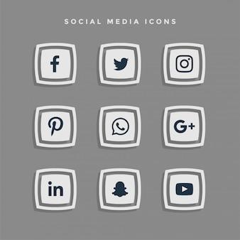 Conjunto de iconos de redes sociales gris