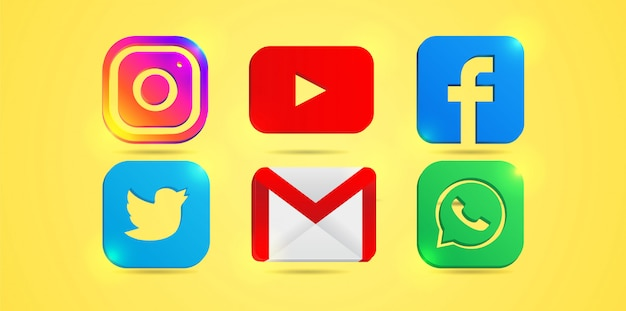 Conjunto de iconos de redes sociales más populares: instagram, youtube, facebook. twitter, correo electrónico y whatsapp.