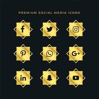 Conjunto de iconos de redes sociales de oro