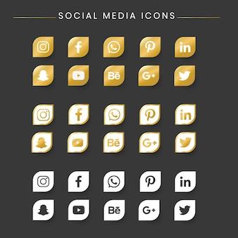 Conjunto de iconos de redes sociales populares