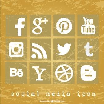 Conjunto de iconos de redes sociales con textura grunge