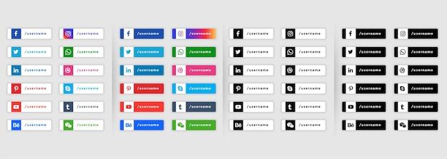Conjunto de iconos de redes sociales web banners de tercio inferior