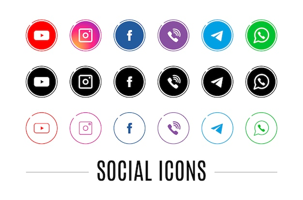 Un conjunto de iconos para redes sociales.
