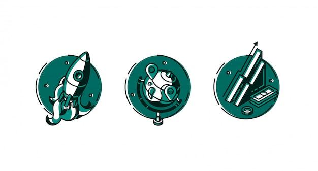 Conjunto de iconos redondos cohete, globo y tabla de datos.