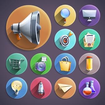 Conjunto de iconos redondos planos de marketing digital