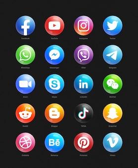 Conjunto de iconos redondos web 3d de redes sociales