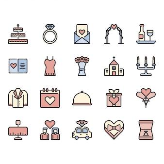 Conjunto de iconos relacionados con el amor y la boda
