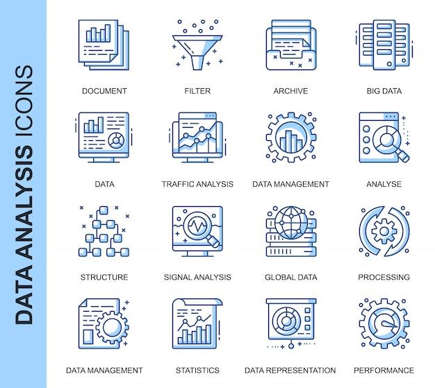 Conjunto de iconos relacionados con análisis de datos de línea delgada