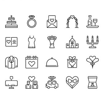 Conjunto de iconos relacionados con la boda