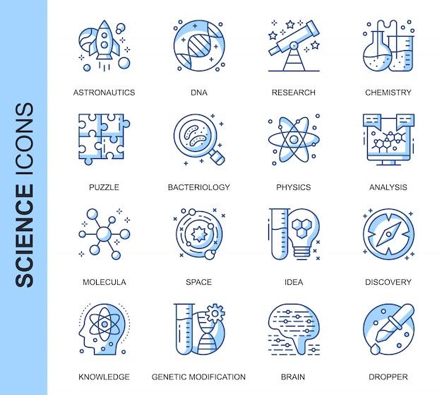 Conjunto de iconos relacionados con ciencia delgada línea