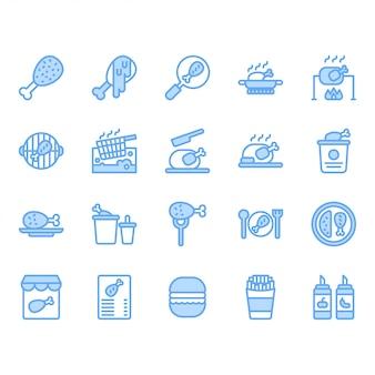 Conjunto de iconos relacionados con la cocina y la comida de pollo