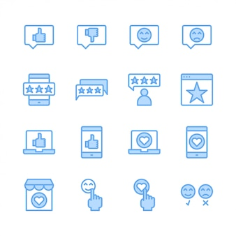 Conjunto de iconos relacionados con comentarios y comentarios de clientes