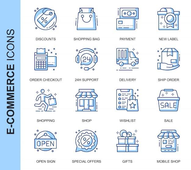 Conjunto de iconos relacionados con comercio electrónico de línea delgada