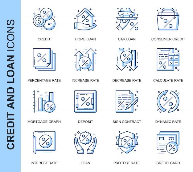 Conjunto de iconos relacionados con créditos y préstamos de línea delgada