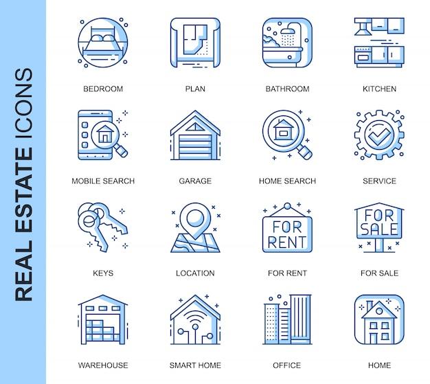 Conjunto de iconos relacionados con delgada línea inmobiliaria