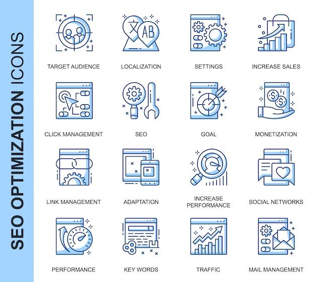 Conjunto de iconos relacionados con delgada línea seo