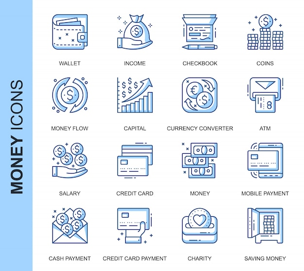 Conjunto de iconos relacionados con dinero de línea delgada