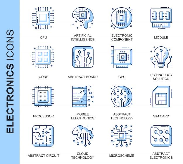 Conjunto de iconos relacionados con electrónica delgada línea