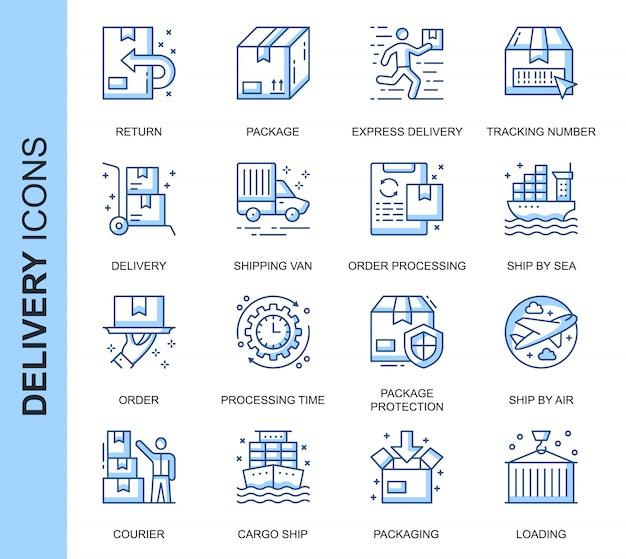Conjunto de iconos relacionados con la entrega de línea delgada