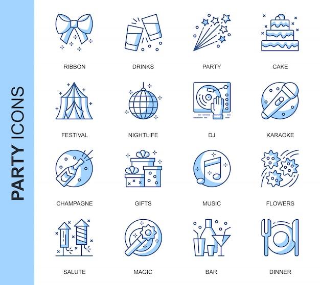 Conjunto de iconos relacionados con la fiesta de línea delgada