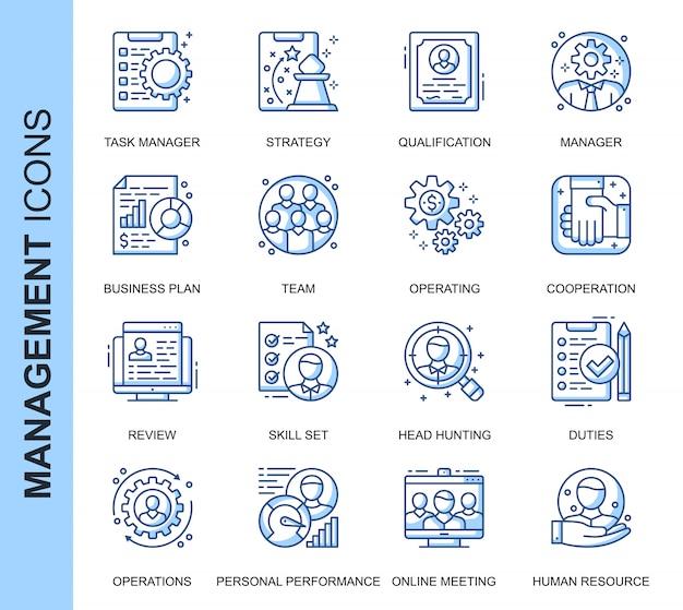 Conjunto de iconos relacionados con la gestión de personas de línea delgada