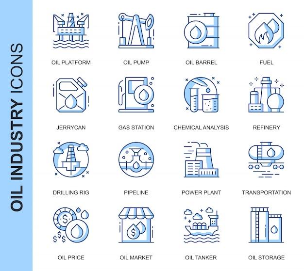 Conjunto de iconos relacionados con la industria del petróleo de línea delgada
