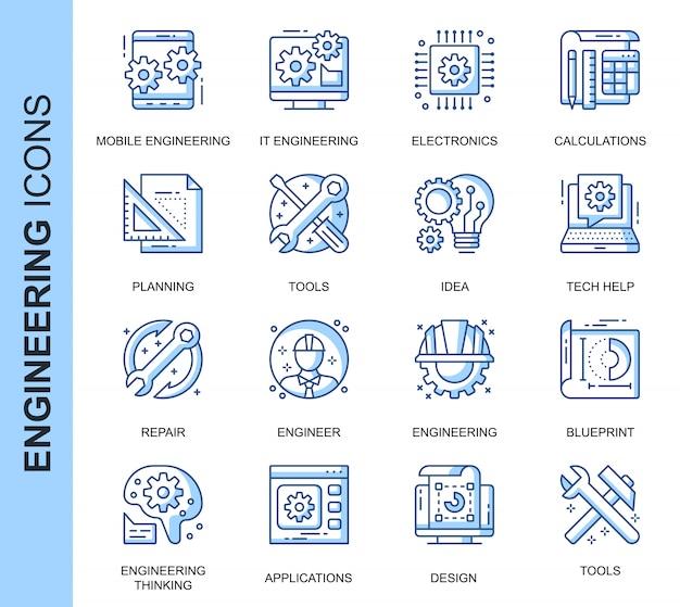 Conjunto de iconos relacionados con ingeniería de línea delgada