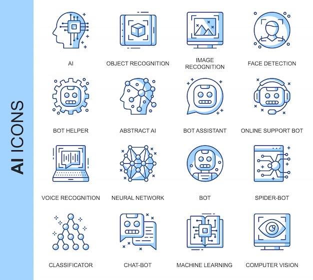 Conjunto de iconos relacionados con la inteligencia artificial de línea delgada