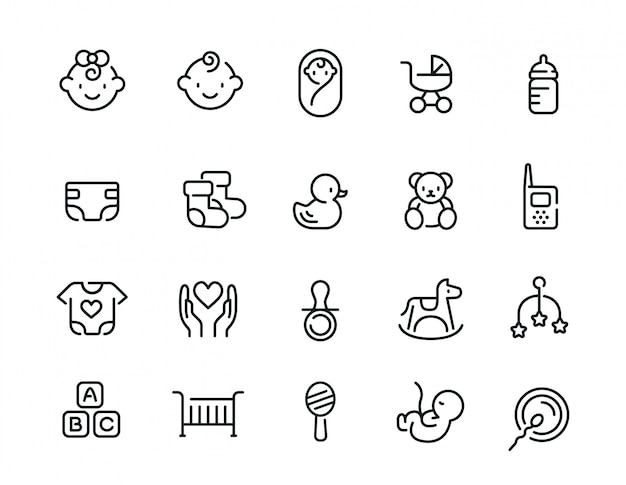 Conjunto de iconos relacionados mínimo lindo bebé